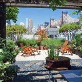 Rooftop Garden Overlooking Manhattan New York City Skyline