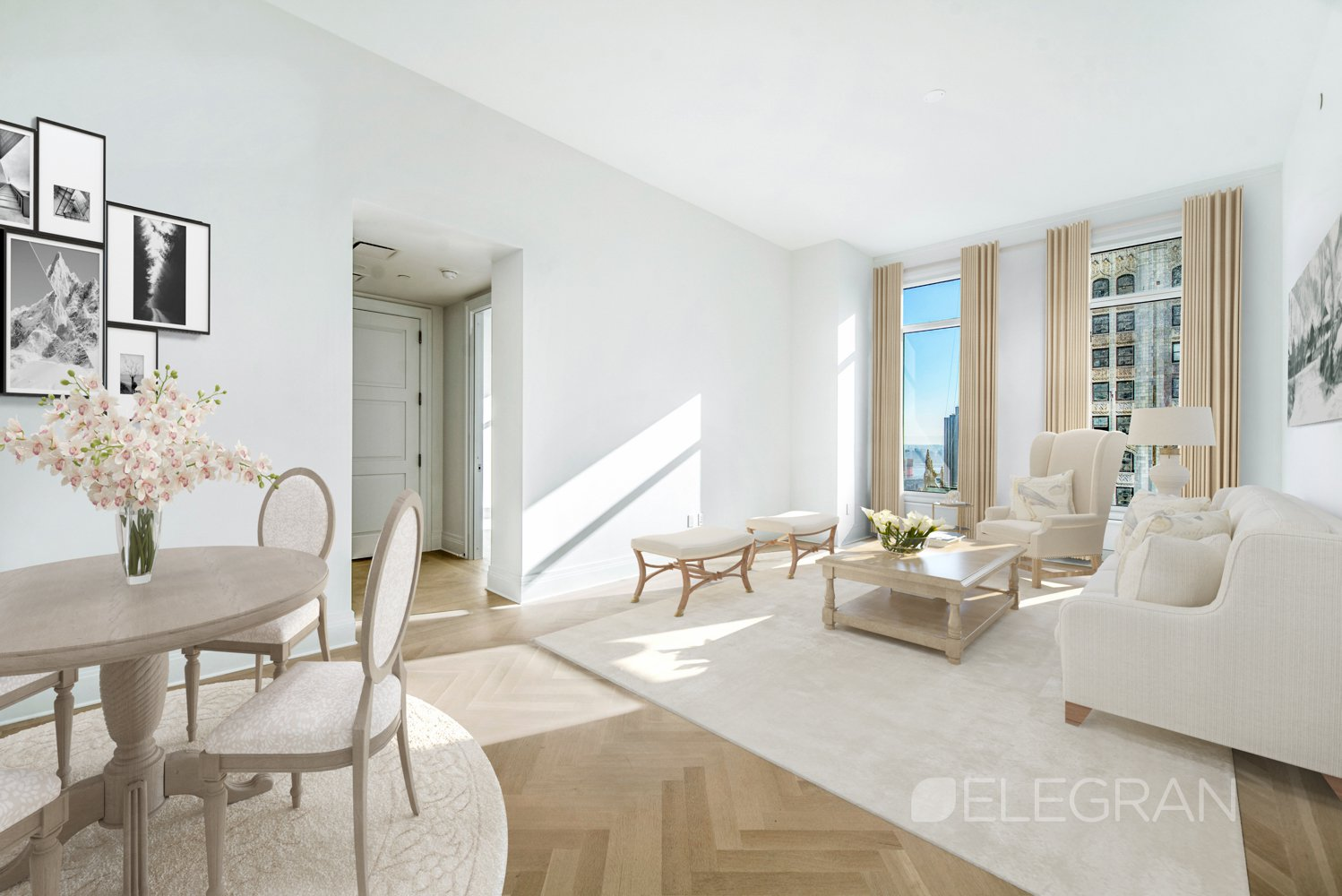 Come and experience the unparalleled 5-star living offered exclusively at the Four Seasons Private Residences New York, Downtown. This 48th floor, 1 bedroom, 1.5 bath, 1,100+ sq. ft. apartment features floor to ceiling windows, an abundance of natural light and impressive eastern views of lower Manhattan and the Woolworth Tower.The formal entry foyer leads to the living & dining room with expansive ceilings and solid white oak floors in a natural matte finish and a herringbone pattern. The separate and spacious Gaggenau kitchen is state of art and a chef's dream. The gracious master suite offers ample storage with a large walk-in closet plus second closet, and the en-suite five fixture marble bath features Kallista fixtures and radiant heat flooring. A powder room for guests and Asko washer/dryer complete the apartment.Residents enjoy access to the services and amenities of the legendary Four Seasons Hotels and Resorts including a 75-ft. swimming pool, spa and salon, attended parking garage, world renown restaurant CUT by Wolfgang Puck, bar and lounge, ballroom facilities, and meeting rooms, as well as a comprehensive suite of a la carte services. The 38th floor is devoted to private residential amenities including a fitness center and yoga studio, private dining room, conservatory and lounge with access to loggias, Roto-designed kid's playroom, and screening room.Conveniently nestled at the convergence of Tribeca, City Hall and the Financial District, this apartment has it all benefits from three vibrant neighborhoods including the recently opened Westfield complex comprising the best retail boutiques including Apple, Boss, Breitling, Dior, a new Eataly and so much more.