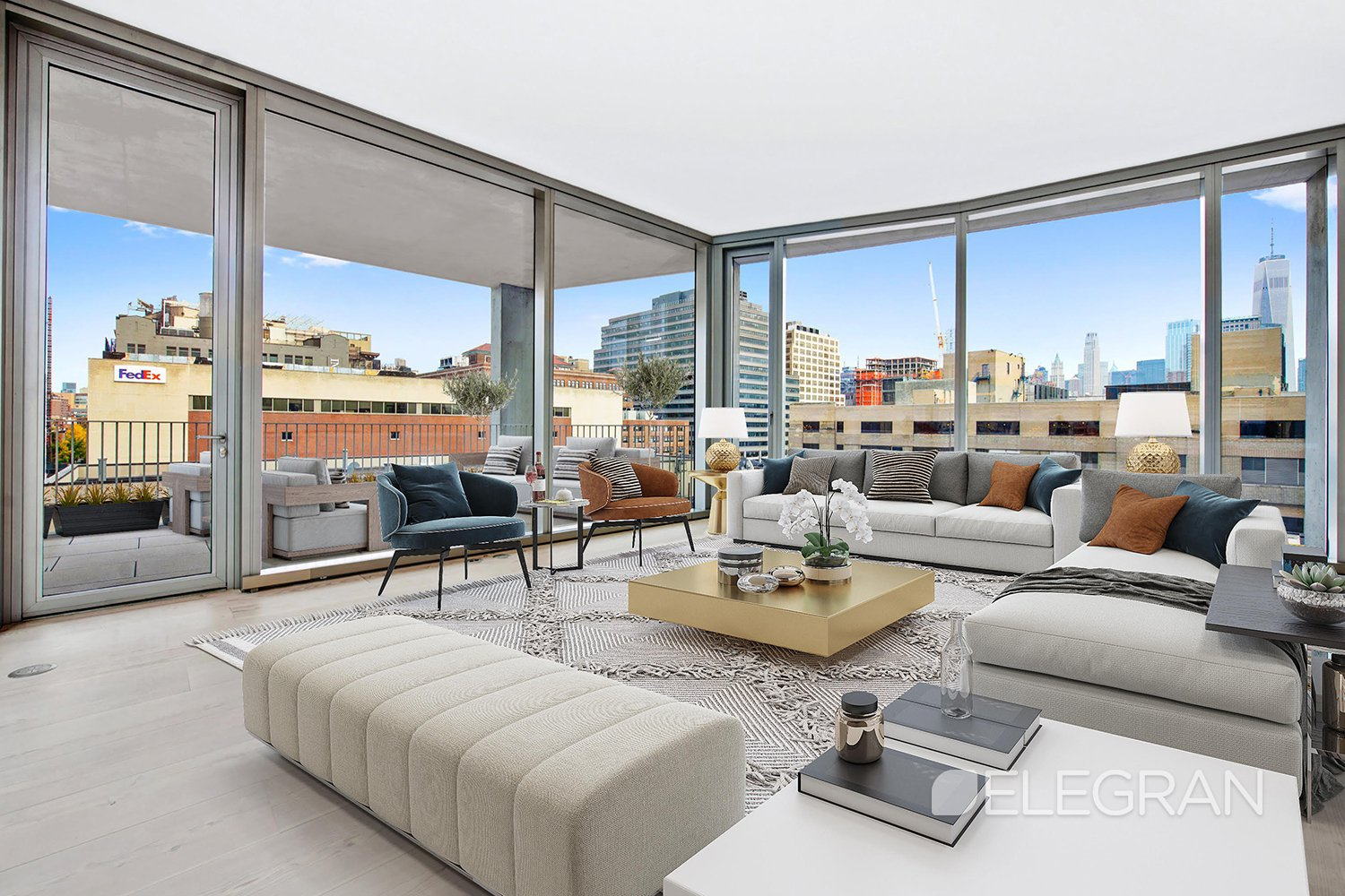 Private outdoor space, stunning, modern luxury finishes, world-class amenities, and more await you when you take advantage of this incredible opportunity to rent one of the last available waterfront homes in the West Village at 160 Leroy Street.This massive, 1728 square foot 2-bedroom, 2.5 bathroom home was meticulously designed by Herzog & de Meuron to be both timeless and to suit the needs of the modern New Yorker. The spacious layout boasts 12-inch wide-plank Scandinavian Larchwood floors throughout and a gracious living area that's flooded with natural light thanks to the 11-foot floor-to-ceiling windows featured on the triple custom pane curtain wall with UVB/UVA protected glass - the perfect space for entertaining and displaying fine art. Continue into the bright, airy great room that leads to the 200 SF terrace, where you can have the type of picture-perfect NYC mornings many only dream of, enjoying a cup of coffee while overlooking the Madison Cox-designed private park.The open chef's kitchen, crafted by Bulthaup, features Larchwood cabinets, stunning Sivec marble slab countertops and backsplash, and a charming breakfast bar. The fully integrated appliances include a Sub-Zero refrigerator, Wolf oven, Gaggenau cooktop, and Miele dishwasher, Sub-Zero freezer and wine refrigerator, Wolf steam oven and integrated Wolf coffee/espresso machine. Everything you need to craft the perfect meal, right at your fingertips.The master bedroom suite is the perfect place for rest, relaxation, and rejuvenation. It boasts spectacular river views, a dressing room, and a lavish, spa-like master bathroom is covered in stunning Sivec marble and features radiant heated floors, a deep soaking tub, a double vanity, and a large stall shower. The spacious second bedroom also features a large dressing area and it's own luxurious, travertine-clad en-suite bathroom. For guests, there is a lovely powder room boasting floor-to-ceiling Scandinavian Larchwood and a custom vanity. This remarka